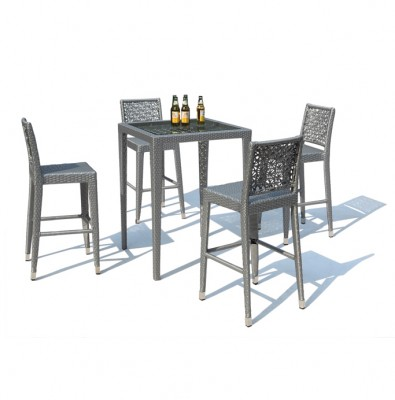 Silver Outdoor Bar Table and Stool | outdoor patio furniture Hong Kong Home Essentials | balcony furniture HK Hong Kong Home Essentials | outdoor dini