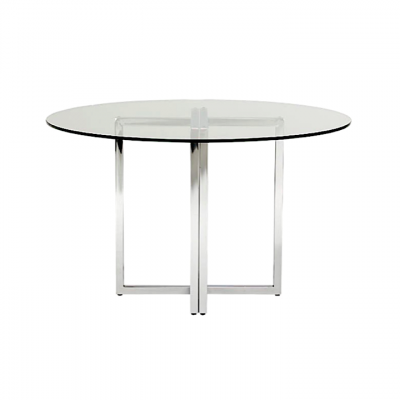 flexion round tempered glass dining table stainless steel base hong kong hk modern central
