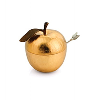 Apple Honey Pot with Spoon - Gold