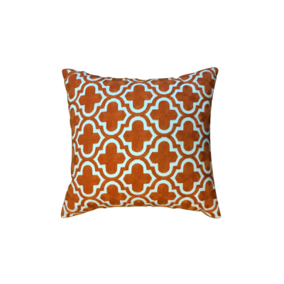 Moroccan Pattern Knitted Cushion - Orange