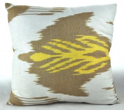 Hand Woven Cotton Ikat Cushion - Beige & Yellow