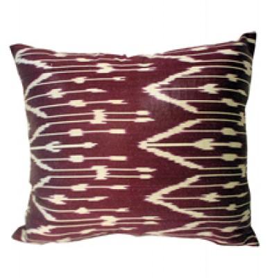 Hand Woven Silk Cotton Ikat Cushion - Burgundy