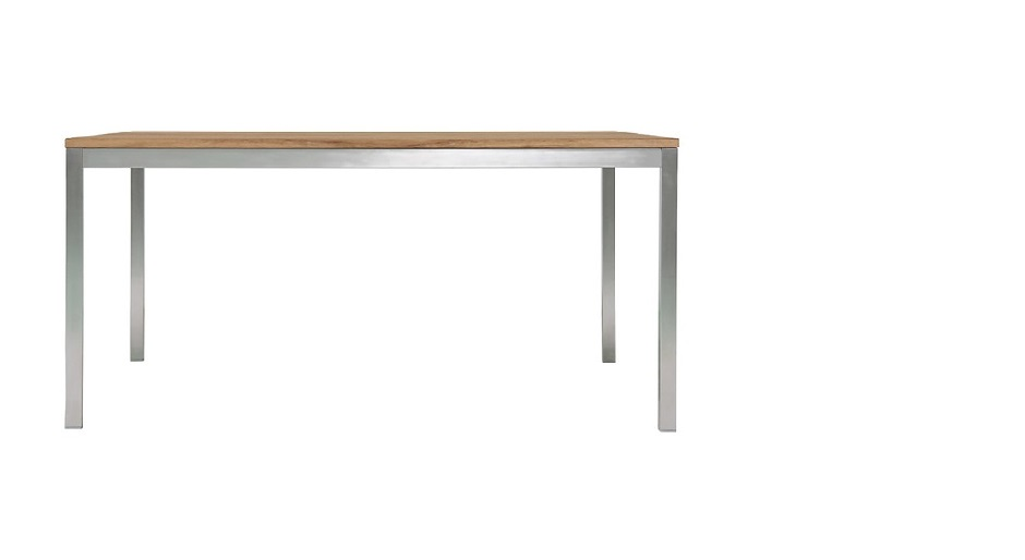 Stella Dining Table Solid Reclaimed Teak Brushed Metal Base Home