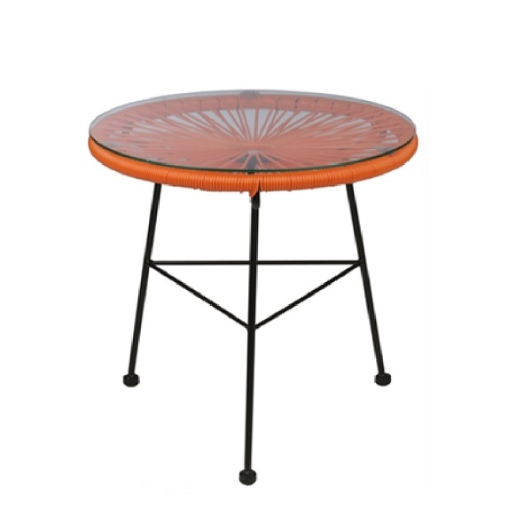 Acapulco 45 Orange Table Modern Home Furniture Designer Outdoor Glass Table For Your Patio