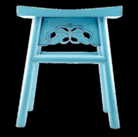 Light Blue Wooden Bar Stool