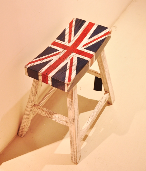 White Wooden Bar Stool W Uk Flag Small Home