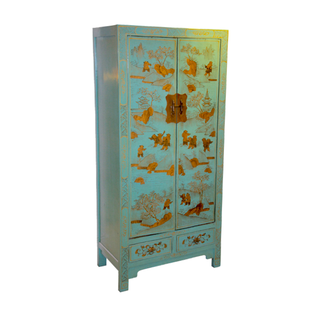 An chi dancing armoire chinese reproduction furniture for Kitchen cabinets lowes with hong kong wall art