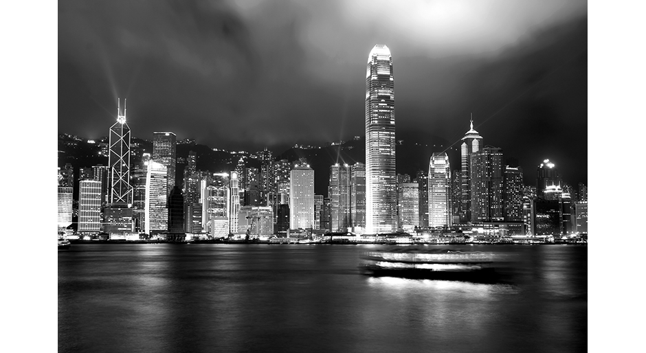 Hong Kong Skyline Tryptic Poster Print Photo Black